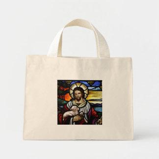 El buen pastor; Jesús en el vitral Bolsa Tela Pequeña