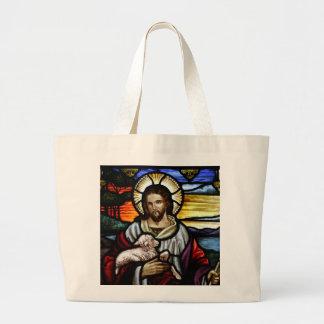 El buen pastor; Jesús en el vitral Bolsa Tela Grande