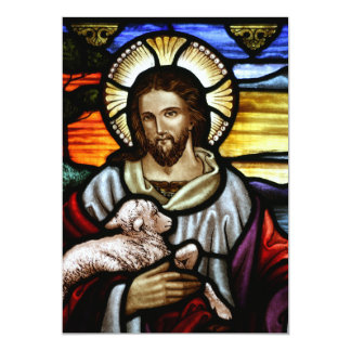 """El buen pastor; Jesús en el vitral Invitación 5"""" X 7"""""""