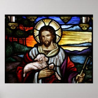El buen pastor; Jesús en el vitral Póster