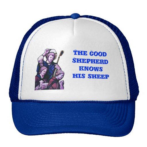 El buen pastor, ventana de la iglesia gorros