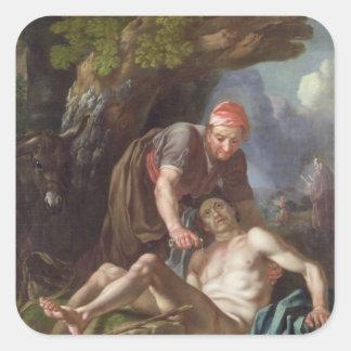 El buen samaritano, c.1751-52 (aceite en lona) pegatina cuadrada