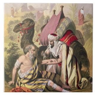 El buen samaritano, de una biblia impresa por Edwa Azulejo Cuadrado Grande