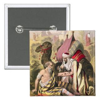 El buen samaritano, de una biblia impresa por Edwa Pin Cuadrada 5 Cm