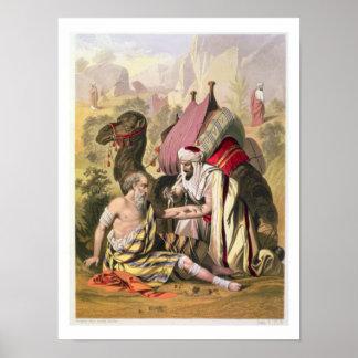 El buen samaritano, de una biblia impresa por Edwa Póster