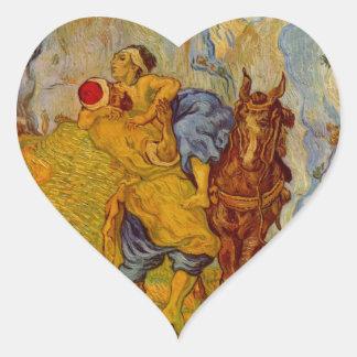 El buen samaritano pegatina en forma de corazón