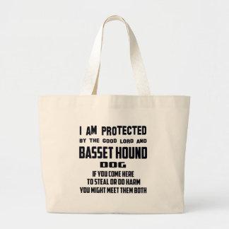El buenos señor y perro de Basset Hound me protejo Bolsa Tela Grande