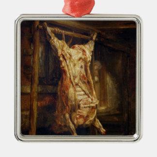 El buey matado, 1655 adorno cuadrado plateado