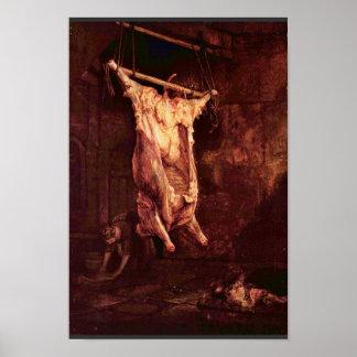El buey matado de Rembrandt Harmensz. Van Rijn Póster