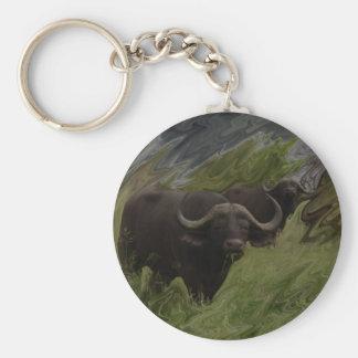 El búfalo africano llavero redondo tipo pin