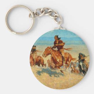 El búfalo Runners (1909) de Federico Remington Llavero Redondo Tipo Pin
