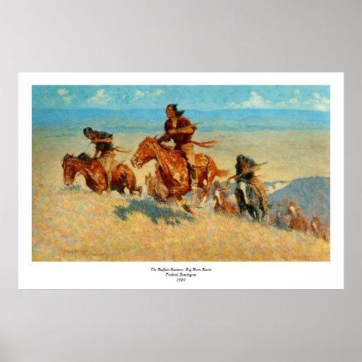 El búfalo Runners (1909) de Federico Remington Póster