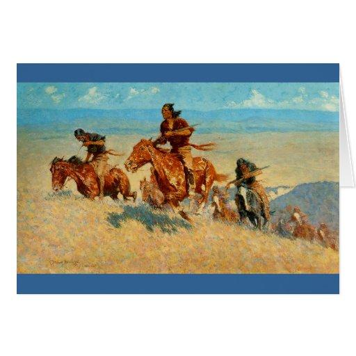 El búfalo Runners (1909) de Federico Remington Tarjeta De Felicitación