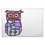 El búho abraza la taza de café mantel individual