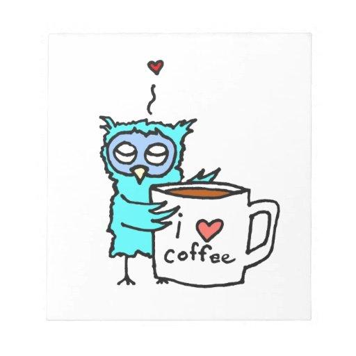 El búho ama el café blocs de notas