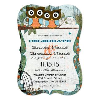 El búho azul de la aguamarina linda casa mi boda invitación 12,7 x 17,8 cm