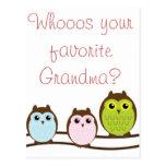 """El búho colorido """"abuela"""" ama tarjetas de nota de postal"""