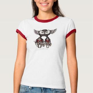 El búho con dos personas resume la camiseta del playera