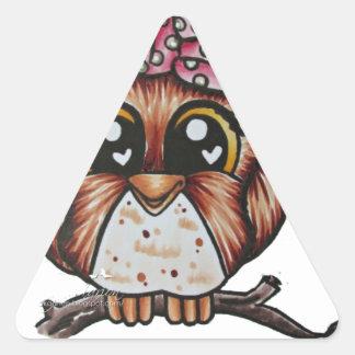El búho de Adriana de Cheri Lyn Shull Pegatina Triangular