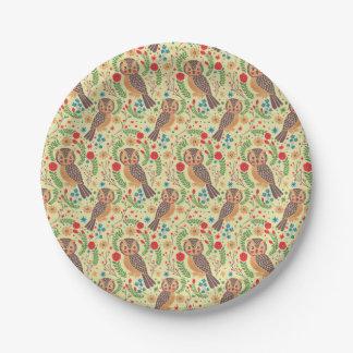 El búho de cuernos retro plato de papel de 7 pulgadas