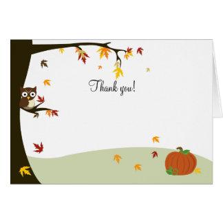 El búho de Halloween del otoño le agradece Tarjeta Pequeña