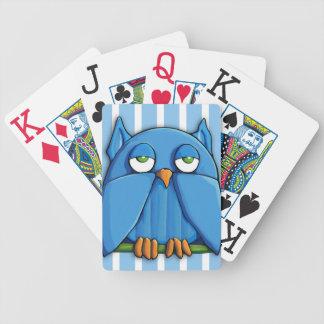 El búho de la aguamarina raya los naipes de Bicycl Baraja Cartas De Poker