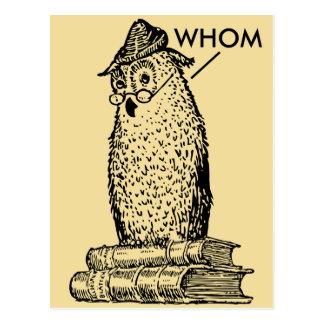El búho de la gramática dice quién postales