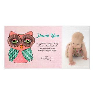 El búho de la niña le agradece plantilla Photocard Tarjetas Con Fotos Personalizadas