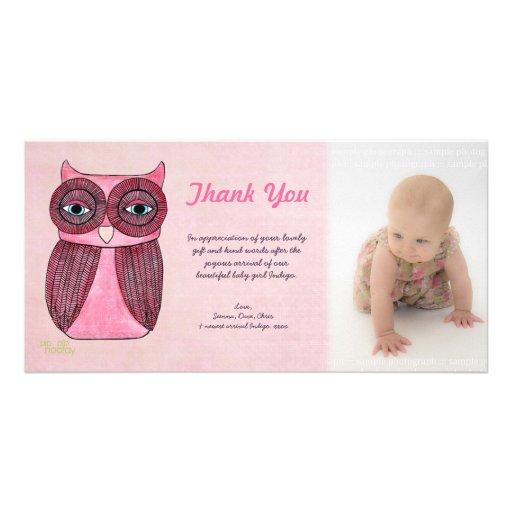 El búho de la niña le agradece plantilla Photocard Tarjetas Personales