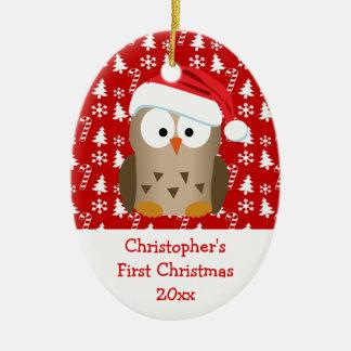 El búho de Santa del navidad personalizó a los Adorno Navideño Ovalado De Cerámica