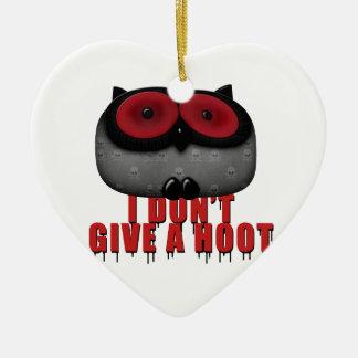 el búho del emo no da un pitido adorno navideño de cerámica en forma de corazón
