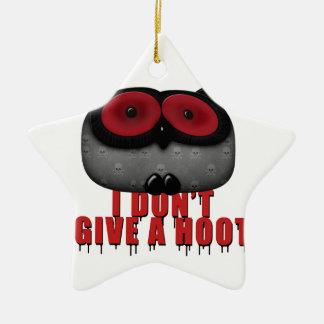 el búho del emo no da un pitido adorno navideño de cerámica en forma de estrella