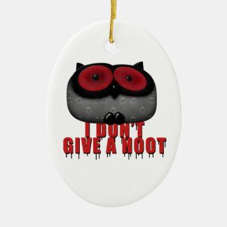 el búho del emo no da un pitido adorno navideño ovalado de cerámica