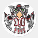 El búho del Haida Etiqueta Redonda