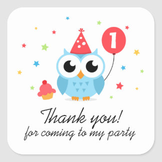 El búho lindo del fiesta con cumpleaños del globo calcomania cuadradas