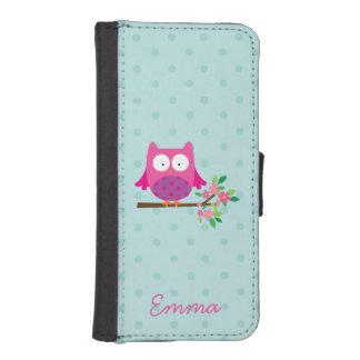 El búho lindo rosado personalizó la caja de la fundas billetera para teléfono