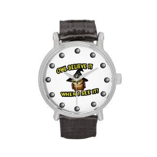 El búho lo cree cuando lo veo relojes de mano