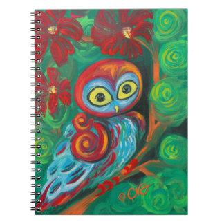 El búho moderno de la pintura spiral notebooks