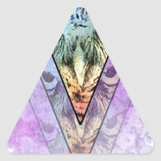 El búho pegatina triangular