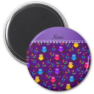 El búho púrpura conocido personalizado ramifica imán redondo 5 cm