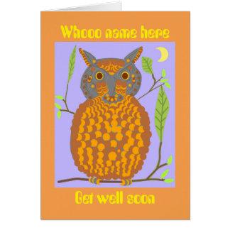 El búho que dice, whooo, consigue el pozo pronto, tarjeta de felicitación