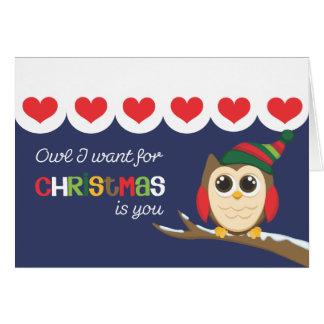 El búho que I quiere para el navidad es usted los Tarjeta