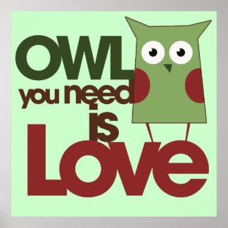 El búho que usted necesita es amor póster