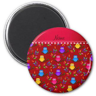 El búho rojo conocido personalizado ramifica las imán redondo 5 cm