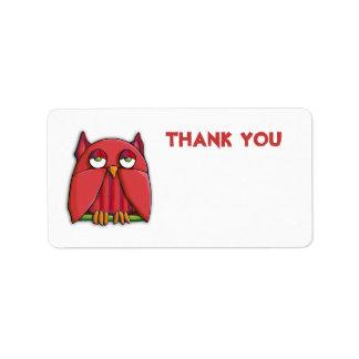 El búho rojo le agradece pegatina de la etiqueta d etiquetas de dirección