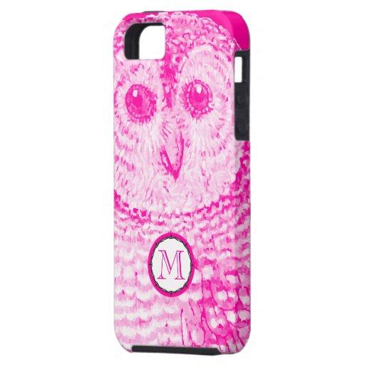 El búho rosado del monograma personalizó la caja iPhone 5 carcasa