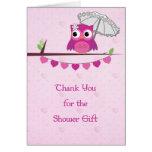 El búho rosado, paraguas, ducha nupcial le agradec tarjeton
