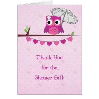El búho rosado paraguas ducha nupcial le agradec tarjeton
