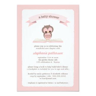 El búho rosado trae una invitación de la fiesta de invitación 12,7 x 17,8 cm