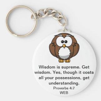 El búho sabio - 4:7 de los proverbios llavero redondo tipo pin